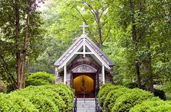 Chapel in woods. A view of a small Catholic (Christian) prayer chapel in the woods at the The National Shrine Grotto of Lourdes, Emmitsburg, Maryland royalty free stock photography