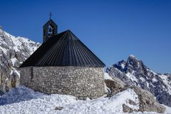 Chapel at the Zugspitze Stock Photos