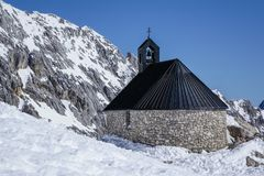 Chapel at the Zugspitze Royalty Free Stock Images