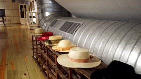 Chapelaria Museum during the International Museum Day. SAO JOAO DA MADEIRA, PORTUGAL - MAY 18, 2019:  Manufacturing head wear processes and machines in stock video