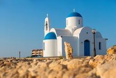 Chapelle blanche Protaras, Chypre Images libres de droits