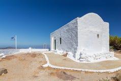 Chapelle de Profitis Ilias, Milos île, Cyclades, Grèce Photographie stock libre de droits