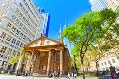 Chapelle du ` s de St Paul d'église Trinity Wall Street Capit financier Images stock
