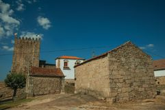 Chapels of Saint Anthony and Calvary with stone walls. In a sunny day at the medieval Belmonte Castle. A cute small town, birthplace of the navigator Pedro royalty free stock photos
