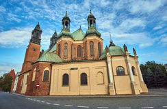 Chapels and towers Gothic cathedral church. In Poznan Stock Photo