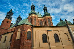 Chapels and towers Gothic cathedral church. In Poznan Stock Photos
