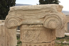 Chapiter volutes,ionic. Detail of Ionic Capital and Column originally from the acropolis,Athens,Greece royalty free stock photos