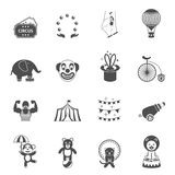 Chapito circus icons set black Royalty Free Stock Photography