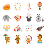 Chapito circus icons set flat Stock Images