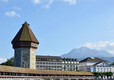 Chaple bridge ancient jail and landmark in Luzern Switzerlnd Royalty Free Stock Photos