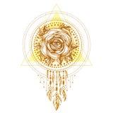 Chaplet dourado, flor com o olho, teste padrão de Rosa de formas geométricas no fundo branco Projeto da tatuagem, símbolo místico Fotografia de Stock Royalty Free