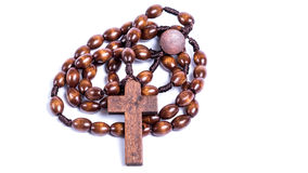 Chaplet. Wooden chaplet in front of white background Stock Photography