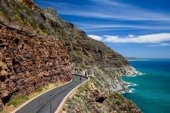 Chapman`s Peak Drive near Cape Town on Cape Peninsula. Western Cape, South Africa. Chapman`s Peak Drive is a 9 kilometer long coastal road from Hout Bay to stock photo