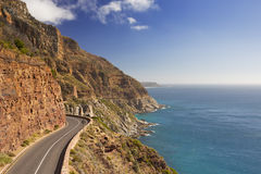 Chapman`s Peak Drive near Cape Town in South Africa. The Chapman`s Peak Drive on the Cape Peninsula near Cape Town in South Africa on a bright and sunny Royalty Free Stock Photography