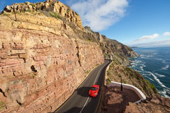 Chapman's Peak  red car Cape town Stock Photography