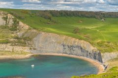 Chapman`s Pool, Jurassic Coast, Dorset, UK. View from the South West Coast Path over Chapman`s Pool, near Worth Matravers, Jurassic Coast, Dorset, UK Royalty Free Stock Photos