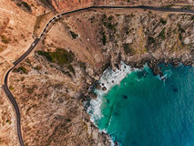 Chapmans Peak Drive. Drone shot overlooking Chapman Peak Drive in Cape Town, South Africa Stock Photography