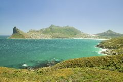 Chapman�s Peak Drive to panoramic view of Atlantic Ocean and Hout Bay, Southern Cape Peninsula, outside of Cape Town, South Afri Royalty Free Stock Photos