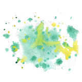 Chapoteo abstracto de la acuarela el amarillo del verde del descenso de la acuarela aisló la mancha blanca /negra para su arte de Imágenes de archivo libres de regalías