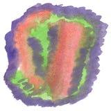 Chapoteo abstracto de la acuarela el descenso verde púrpura de la acuarela aisló la mancha blanca /negra para su arte del diseño Imagenes de archivo
