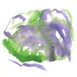 Chapoteo abstracto de la acuarela el descenso verde púrpura de la acuarela aisló la mancha blanca /negra para su arte del diseño Imagen de archivo