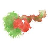 Chapoteo abstracto verde rojo de la acuarela el descenso de la acuarela aisló la mancha blanca /negra para su arte del diseño Foto de archivo libre de regalías