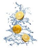 Chapoteo anaranjado de la fruta y del agua Imagen de archivo