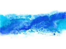 Chapoteo azul abstracto de la acuarela en el documento de información blanco libre illustration