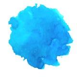 Chapoteo azul de la acuarela del vector Fondo ciánico abstracto de la mancha blanca /negra Mar, océano tropical, elemento de la l ilustración del vector