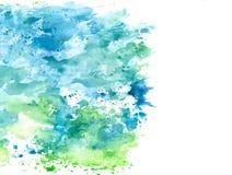 Chapoteo azul y verde abstracto de la acuarela en el documento de información blanco, elemento del grunge para la decoración, eje libre illustration