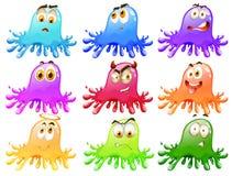 Chapoteo brillante del color con diversas emociones ilustración del vector