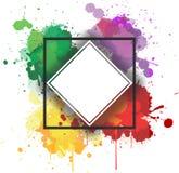 Chapoteo colorido de la acuarela con el marco diagonal para la invitación imágenes de archivo libres de regalías