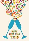 Chapoteo colorido de la tostada del partido de la Feliz Año Nuevo 2018 ilustración del vector