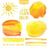 Chapoteo de la acuarela, cepillos, sol Sistema amarillo del verano Fotografía de archivo libre de regalías