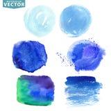 Chapoteo de la acuarela Océano azul, ciánico, mar, colores del cielo Imagen de archivo libre de regalías