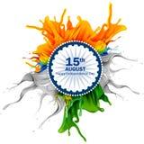 Chapoteo de la bandera india en el Día de la Independencia feliz de fondo de la India stock de ilustración