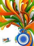 Chapoteo de la bandera india en el Día de la Independencia feliz de fondo de la India ilustración del vector