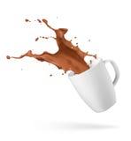 Chapoteo de la bebida del chocolate fotos de archivo