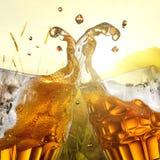 Chapoteo de la cerveza contra campo de trigo fotografía de archivo