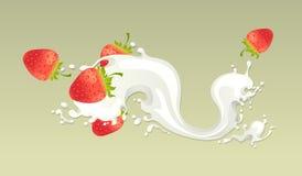 Chapoteo de la leche con la fresa Fotografía de archivo libre de regalías