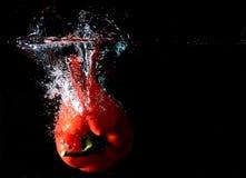 Chapoteo de la pimienta roja Imagenes de archivo