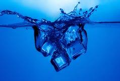 Chapoteo de los cubos de hielo Imagen de archivo