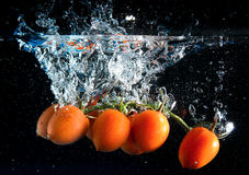 Chapoteo de los tomates Imagenes de archivo