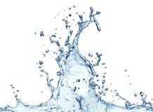 Chapoteo del agua azul aislado Imágenes de archivo libres de regalías