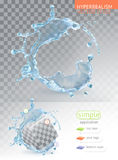 Chapoteo del agua con la transparencia ilustración del vector