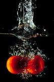 Chapoteo del agua de los tomates Foto de archivo libre de regalías