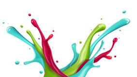 Chapoteo del agua del color en el fondo blanco Foto de archivo libre de regalías