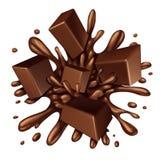 Chapoteo del chocolate Fotos de archivo