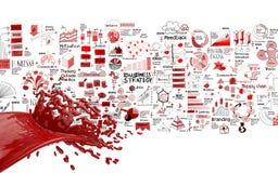 chapoteo del color rojo de la pintura 3D y estrategia empresarial dibujada mano Fotos de archivo