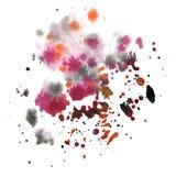 Chapoteo del extracto de la acuarela el descenso púrpura negro de la acuarela aisló la mancha blanca /negra para su arte del dise Fotos de archivo libres de regalías